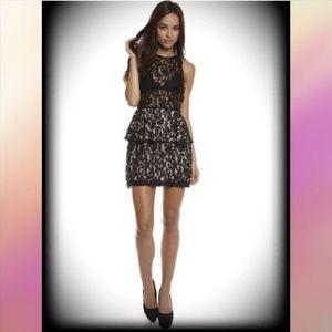NWT$279 STYLESTALKER Panthers Lace Tier Mini Dress